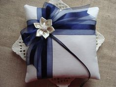 Wedding Ring Bearer Pillow Navy Blue Satin Stripe by crafting4u, $28.00