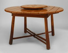 """American Rustic Old Hickory dining table with a round oak plank top above 4 double legs with an """"X"""" form stretcher with a centered lazy susan having a compass top. Old Hickory, Lazy Susan, Plank, Dining Table, Rustic, American, Furniture, Home Decor, Country Primitive"""