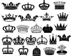 Crown Clipart // King Queen Crown Clip Art // Royal by BlueGraphic Crown Finger Tattoo, Queen Crown Tattoo, Crown Silhouette, Silhouette Design, Crown Pics, Crown Stencil, Crown Clip Art, Rose Tattoo On Arm, Crown Tattoo Design