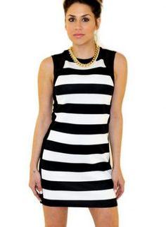 Black and White Striped Zippered Back Bodycon Dress www.UsTrendy.com