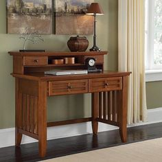Arts & Crafts Student Desk With Hutch (brown)