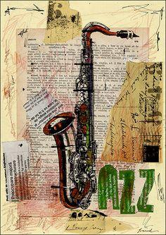 SALE Fine Art  PRINT- Abstract Mixed media collage Modern  Jaaz Painting M. E.Ologeanu. $6.91, via Etsy.