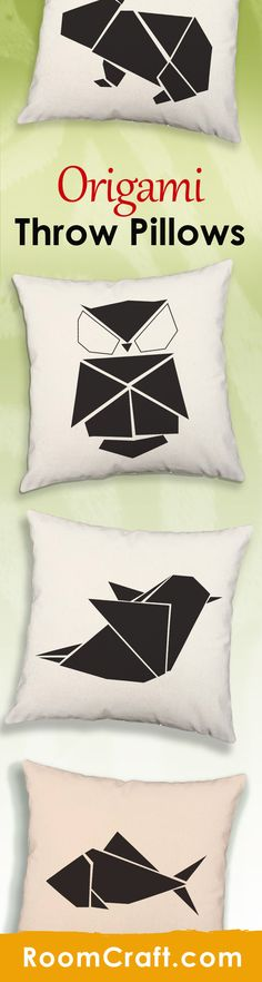 Express your passion for the Japanese art of folding paper with these fun origami throw pillows. Each animal design is offered in multiple colors, sizes and fabrics making them perfect for your home, office, or sun room. Our quality oriental pillow covers are made to order in the USA and feature 3 wooden buttons on the back for closure. Choose your favorite and create a truly unique pillow set. #roomcraft