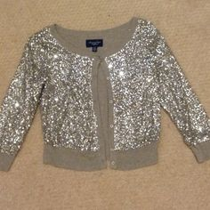 Sequin Cardigan Grey/silver 3/4 length cardigan American Eagle Outfitters Tops