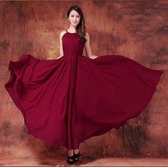 Burgundy Dress Holiday Beach Dress Summer Sundress Plus Size Maxi Dress  bridesmaid dress Formal Evening Prom Gown Homecoming dress