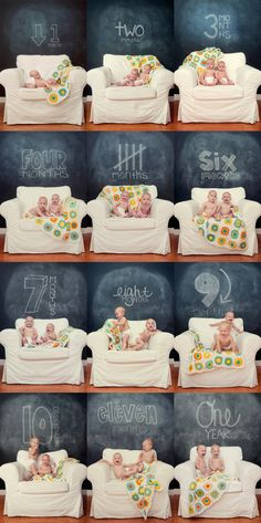 I'm doing this for our next baby. I love how it captures their personalities. Month photos for first year.
