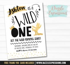 Printable Black and Gold Where the Wild Things Are Inspired Birthday Invitation | Boys 1st Birthday | First Party Idea | Wild Rumpus | King | FREE thank you card included | Cupcake Toppers | Favor Tag | Banner | Drink and Food Labels | Signs | Matching Party Package Decor Available!