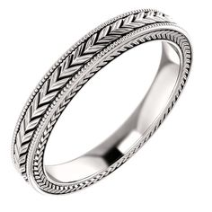 Gorgeous wheat engraved solid gold wedding band. Band Width: 3 mm Band Finish: High Polish