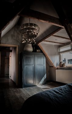 A gorgeous moody bedroom. For similar bedding try… Home Design, Interior Design, Dark Interiors, Rustic Interiors, Interior Exterior, Interior Architecture, Loft Spaces, Living Spaces, Home Bedroom