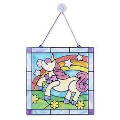 Melissa Doug Unicorn, Melissa and Doug Stained Glass, Unicorn Crafts, DIY Kids Arts And Crafts For Teens, Art And Craft Videos, Crafts For Kids, Unicorn Crafts, Magical Unicorn, Beautiful Unicorn, Window Art, Arts And Crafts Movement, Stained Glass Art