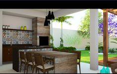 Varanda Gourmet integrada com quintal c/ jardim e pergolado
