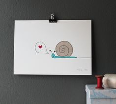 love snail - art print. €7.50, via Etsy.