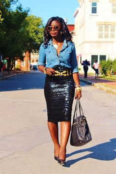 Chambray Shirt & Sequin Skirt (from FashBerries) www. Source by whatnicolewore Sequin Skirt Outfit, Black Sequin Skirt, Pencil Skirt Outfits, Black Sequins, Black Sparkle, Sequin Pencil Skirt, Look Fashion, Fashion Outfits, Womens Fashion