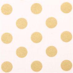 c23a094bc white Michael Miller fabric Quarter Dot Pearlized with shiny gold dots 1  Tela De Algodón