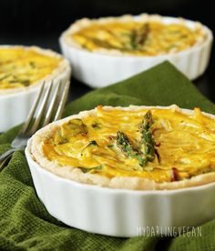 A fresh and seasonal vegan tofu quiche made with sun-dried tomatoes and asparagus for a hearty breakfast, lunch, or dinner.