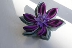 Kanzashi - purple and grey