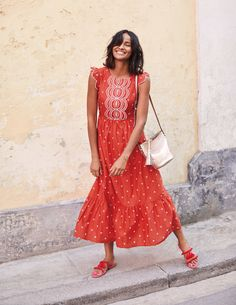 Lucinda Broderie Dress W0160 Day Dresses at Boden