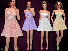 The Sims Resource: Embellished Short Tulle Prom Dress by Harmonia • Sims 4 Downloads