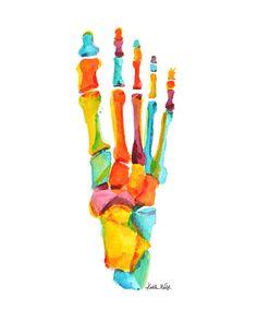 Una hermosa impresión abstracta de una acuarela original anatómica que representa los huesos de los pies, usando una paleta de colores amarillo, naranja y teal vibrante. Nombre: Los brillantes huesos del pie PAPEL y tinta: la impresión vendrá en algodón 100% trapo 300gsm papel mate. Este hermoso Museo de calidad papel es libre de ácido y diseñados para una salida de alta resolución y alto contraste. Todas las impresiones se imprimen en un p800 Epson con tintas de pigmento Epson UltraChrome…