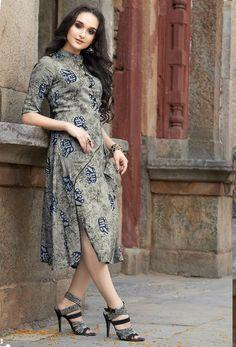 5b3b2af630 Readymade Grey Cotton Designer Printed Kurti #kurti #ladiestops  #cottonkurti #kurtionline #longkurti. Nikvik