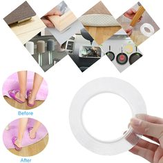 Adhesive Tape Multifunctional Traceless Tape Washable Adhesive Tape Reusable Anti-Slip Gel Tape Removable Sticky Strips Grip for Paste Photos Posters Key Fix Carpet Mat ect Audio-Video Accessories Cords Tools Cables Garden-Hand Tools Pen Holders, Place Card Holders, Tapas, Carpet Mat, Gray Carpet, Beauty Cream, Gel Color, Solar Lights, Duct Tape