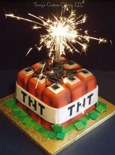 Minecraft TNT Cake (Cake Boy) - Everything About Minecraft Minecraft Party, Pastel Minecraft, Bolo Minecraft, Minecraft Birthday Cake, Minecraft Cupcakes, 6th Birthday Parties, 10th Birthday, Boy Birthday Cakes, Roblox Birthday Cake