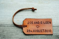 59006b12d6f4 Single Custom Leather Luggage Tag. Stamped with Your Name, Quote, Verse.  Perfect