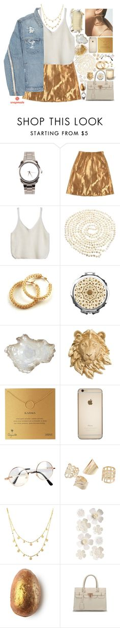 """Golden Girl"" by ritaflagy ❤ liked on Polyvore featuring Ralph Lauren, Lido Pearls, Hermès, YooLa, Pier 1 Imports, Dogeared, Retrò and Lana"