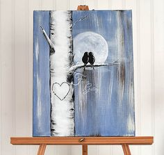 11 x 14 Original Personalized Canvas Painting Aspen Tree Painting Love Bird Painting Birch Tree Art Custom Wedding Gifts for Couple Valentine Gift Romantic Gift Denim Wedding Theme Denim Gift This simple, rustic canvas painting of two birds resting in an aspen / birch tree together will add rustic character to any room and would make a sweet wedding gift, anniversary gift, engagement gift, or Valentine gift. The denim color will go great with the rustic, country, barn and denim wedding ...