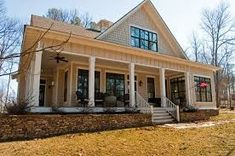 Image result for country with stone and wrap around porches