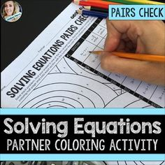 Multi-Step Equations : Pairs Coloring Activity This resource combines the fun… Cooperative Learning Activities, Algebra Activities, Maths Algebra, Math Teacher, Math Classroom, Teaching Math, Teacher Stuff, Teaching Ideas, Solving Linear Equations