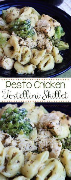 Pesto Chicken Tortellini Skillet - Chicken, cheese tortellini, and broccoli sauteed in a lemony pesto sauce - the perfect weeknight dinner!