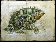 (some very beautiful drawings by Vladimir Gvozdariki from his website of machine animals that seem to come out from some Industrial utopian world.)