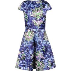 MARY KATRANTZOU Short dress ($1,120) ❤ liked on Polyvore featuring dresses, floral print dress, blue mini dress, mini dress, floral dresses and short dresses