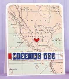 Missing You Map Card by Carolyn King
