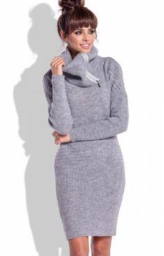 Fobya F333 sukienka szara Casualowa sukienka, wykonane z miękkiej wełnianej dzianiny, obszerny golf ozdobiony suwakiem, który można nosić w wersji rozsuniętej Golf, High Neck Dress, Sweaters, Dresses, Fashion, Turtleneck Dress, Vestidos, Moda, Sweater