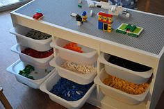 Lego table made using Ikea's Trofast system.  Great idea for when the boys are…
