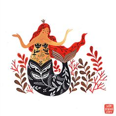 Mermaid Giclee Print by MirDinara on Etsy Art And Illustration, Mermaid Illustration, Illustrations, Fat Mermaid, Mermaid Art, Mermaids And Mermen, Merfolk, Gouache Painting, Giclee Print