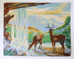 1950's Paint by Number Pastoral Scene with waterfall and deer. $35.00, via Etsy.