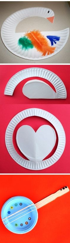 Simple, fun and perfect Mother Goose, Heart and Banjo Paper Plate Craft