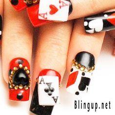Poker las vegas nail art nail fun pinterest vegas nail art japanese nail art aces blackjack poker nail tip with by blingup prinsesfo Choice Image