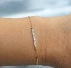 14k solid gold diamond bar bracelet pave bracelet dainty diamond braceleet