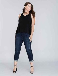 V-Neck Tank with Lace | Lane Bryant