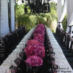 Chantilly Lace Black Betty Chair Sleeve, Isabella Black Chair Caps used for the Runner, Matte Satin White Linen