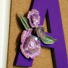 Monogram With Recycled Plastic & Paper Die Cut Flowers
