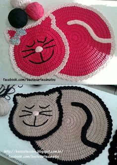 Cat Rug Crochet Pattern by PaperButtercup on Etsy Chat Crochet, Crochet Home, Love Crochet, Crochet Crafts, Crochet Projects, Crochet Rugs, Beautiful Crochet, Irish Crochet, Crochet Potholders