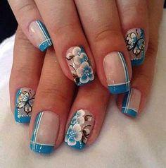Como Fazer Unhas Decoradas com Azul: Passo a Passo Nail Polish Designs, Acrylic Nail Designs, Nail Art Designs, Acrylic Nails, Pretty Nail Designs, Short Nail Designs, Fingernails Painted, French Nail Art, Rose Nails