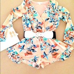 Floral romper Floral romper elastic waist. Gorgeous! Belt not included. Pants Jumpsuits & Rompers