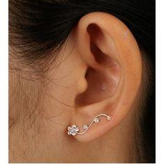 4 925 Sterling Silver Clear Crystal Floral Cuff Earrings Fashion Jewelry for Women Teens Girls - Nickel Free