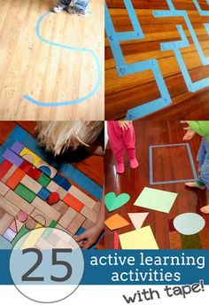 25 Active Ways to Learn Indoors with Tape -- literacy, math, gross motor, and Gross Motor Activities, Indoor Activities For Kids, Educational Activities, Gross Motor Skills, Learning Activities, Preschool Activities, Indoor Games, Learning Through Play, Kids Learning